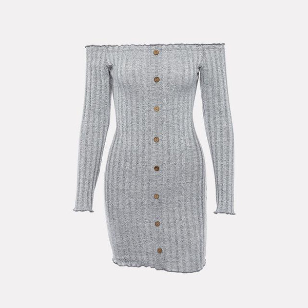 Y LABEL APPAREL: Sweater Weather Knit Off Shoulder Dress - Y LABEL APPAREL