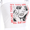 Y LABEL APPAREL: Tears Graphic Print Tube Top - Y LABEL APPAREL