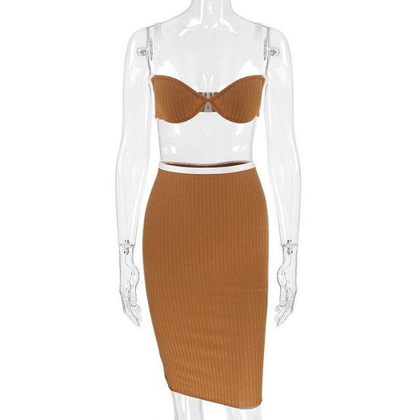 Y LABEL APPAREL: Tia Ribbed Bralette Crop and Skirt Set - Y LABEL APPAREL