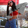 Y LABEL APPAREL: VIBES Checkerboard Supra Crop - Y LABEL APPAREL