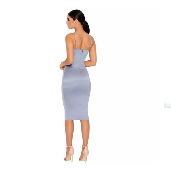 Y LABEL APPAREL: Wendy Satin Midriff Midi Dress - Y LABEL APPAREL