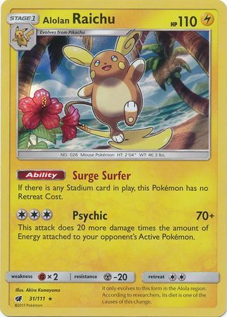 Alolan Raichu 31/111 - Crimson Invasion - Holo - Card Cavern