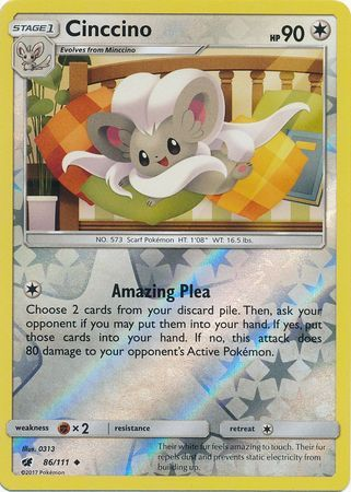 Cinccino - 86/111 - Crimson Invasion - Reverse Holo - Card Cavern