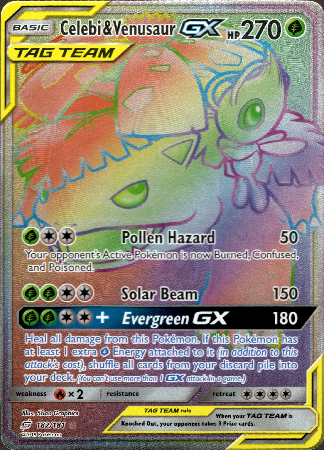 Celebi & Venusaur GX Hyper Rare - 182/181 - Team Up - Card Cavern