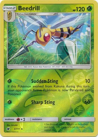 Beedrill - 3/111 - Crimson Invasion - Reverse Holo - Card Cavern