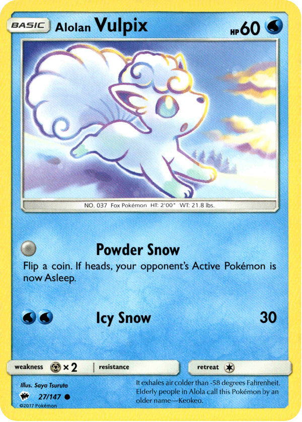 Alolan Vulpix - 27/147 - Burning Shadows - Card Cavern