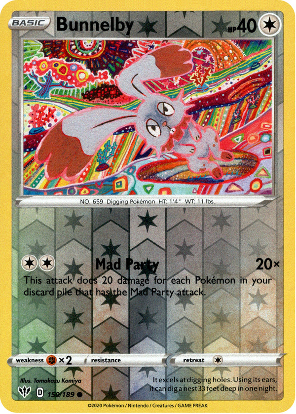 Bunnelby - 150/189 - Darkness Ablaze - Reverse Holo - Card Cavern