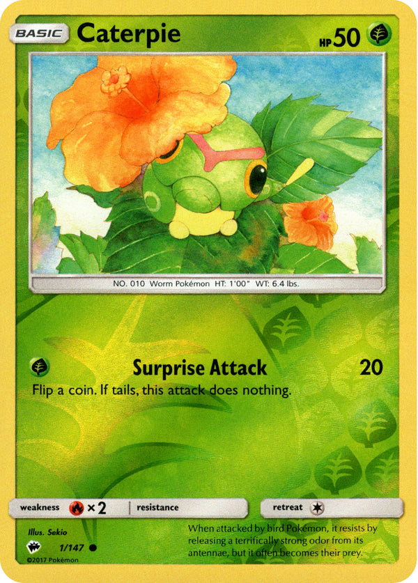 Caterpie - 1/147 - Burning Shadows - Reverse Holo - Card Cavern