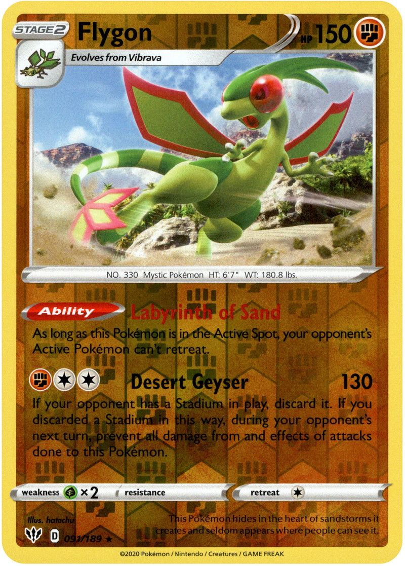 Flygon - 91/189 - Darkness Ablaze - Reverse Holo - Card Cavern