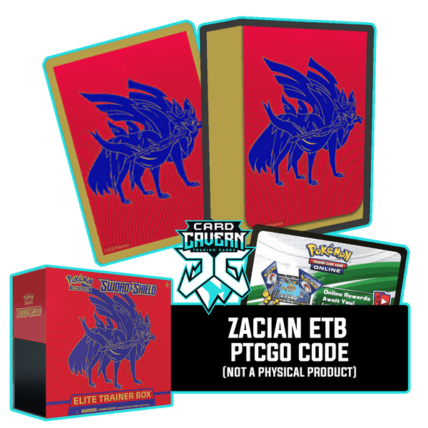 Sword & Shield ETB - Zacian - Sleeves and Deck Box PTCGO Code - Card Cavern