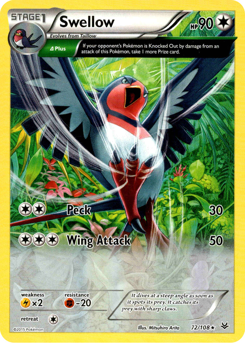 Swellow - 72/108 - Roaring Skies - Holo - Card Cavern