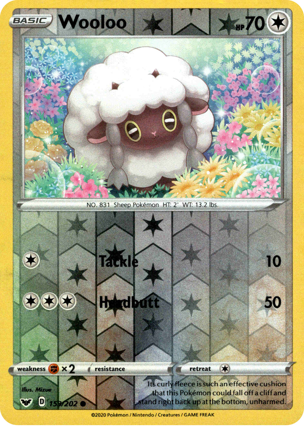 MINT Pokemon WOOLOO 153//202 Sword /& Shield Rev Holo