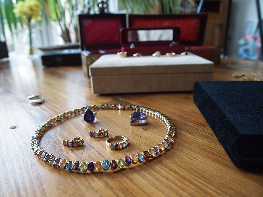 multicoloured gemstone necklace