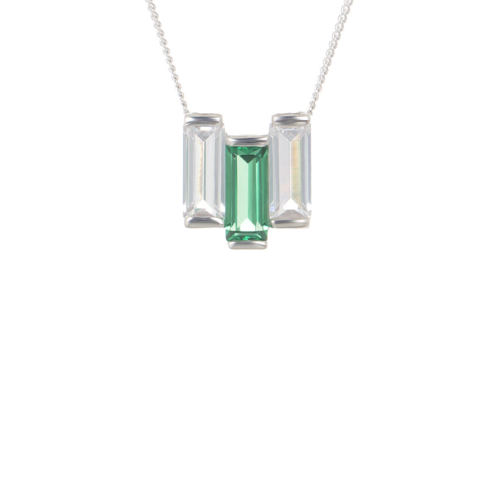 Baguette Chrysler choker/short necklace in created emerald