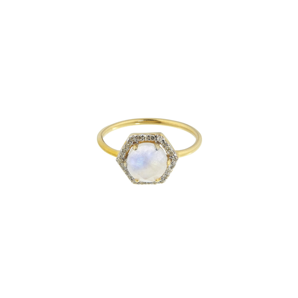 Hexagon Moonstone and Diamond Ring