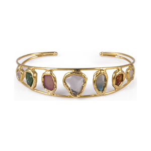 Quartz Gemstone Variety Gold Cuff