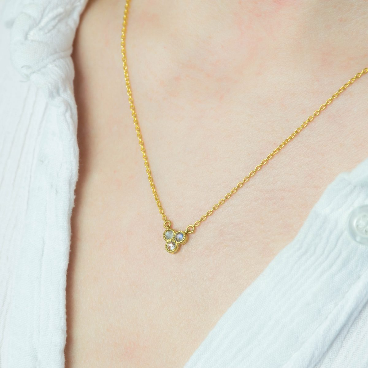 Bijou Diamond and Moonstone Necklace