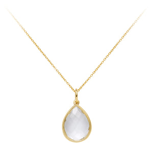 Rock Crystal Portobello Pear Drop Necklace