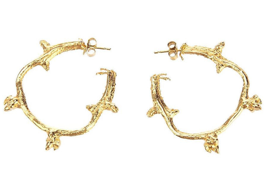 Gold Branch Hoop Earrings