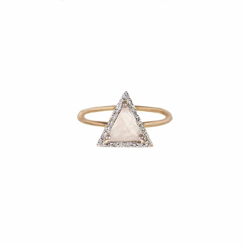 Triangle Moonstone and Diamond Ring