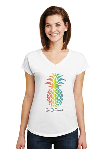 Ladies V-Neck Pineapple T-shirt