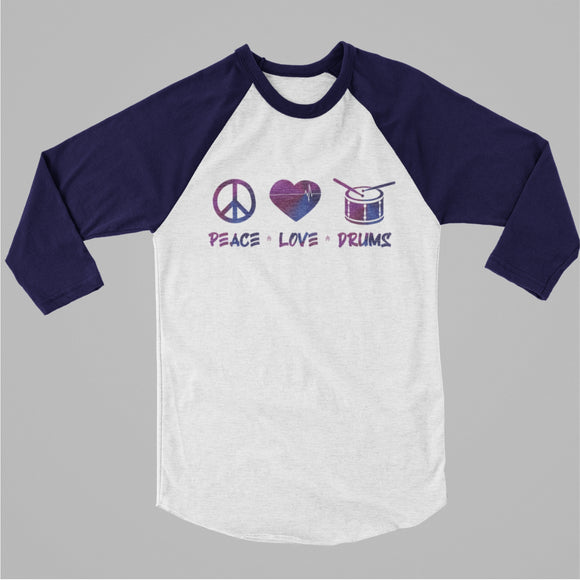 PEACE LOVE DRUMS Raglan Three-Quarter Sleeve Tee