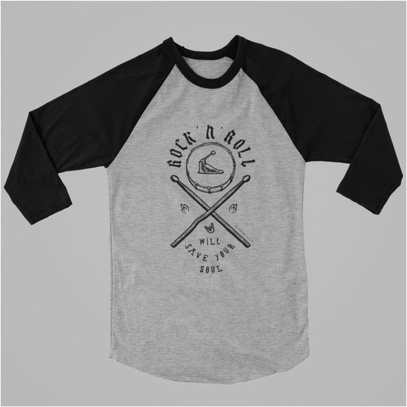 ROCK N ROLL Raglan Three-Quarter Sleeve Tee