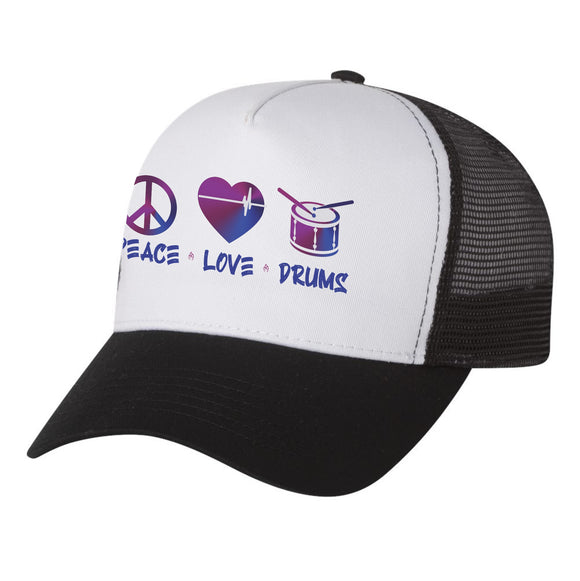 PEACE LOVE DRUMS TRUCKER HAT
