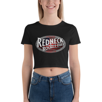 American Flag Redneck Rocket Fuel Logo Women's Crop Tee