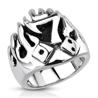 Lucky Seven With Dice In Flames Cast Stainless Steel Ring