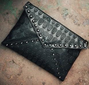 Women Envelope Purse, Leather w/rivet and skulls.
