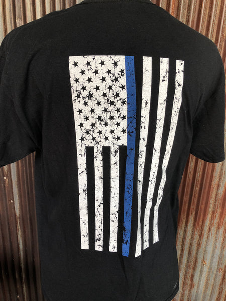 Blue line American Flag shirt. Show your support for the men and women at risk their life every day to protect you.