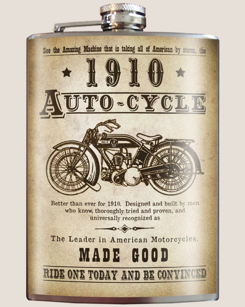 Autocycle Vintage Motorcycle - Flask