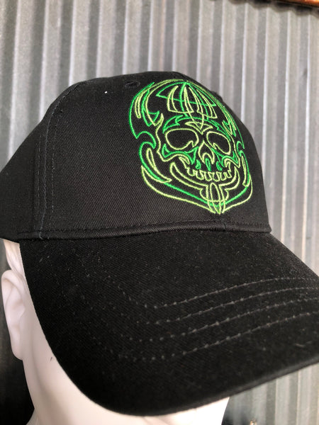 Green pinstripe skull on an all black cap