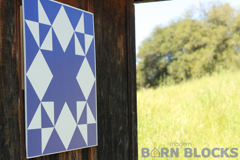 Blue Star modern barn quilt block hanging