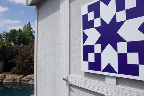 Eternal - Blue and White modern barn quilt for sale from Put a Quilt on It