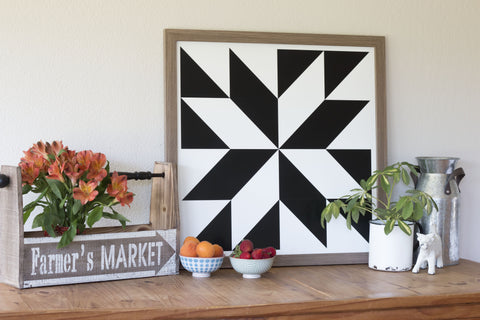 Black and White Strength Modern Barn Quilt - Modern Farmhouse tabletop decor from Put a Quilt on It