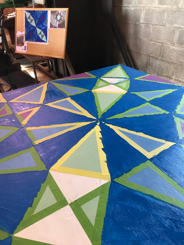 Barn Quilt Demo - How to tape and paint a barn quilt