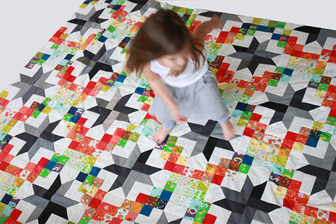 Patchwork Sky quilt pattern with Kinder by Heather Ross Fabric - Sewn by Put a Quilt on It