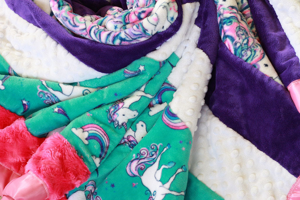 Unicorn minky blanky sewn by Put a Quilt on It with Sew and Flip method