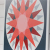 Courage - a Modern Barn Quilt in shades of red, blue and gray
