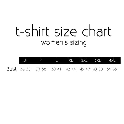 T-shirt size chart from Put a Quilt on It