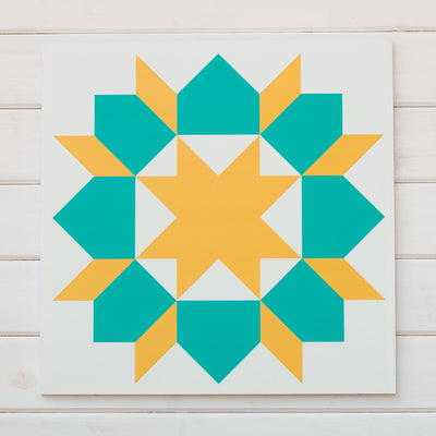 Teal and warm yellow carpenters star modern barn quilt for sale from Put A Quilt on It