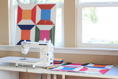 Modern spools barn quilt design in sewing room - Barn Quilt for Sale, Great gift for quilter