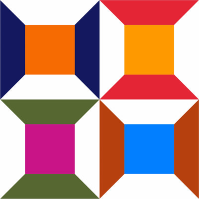 Bold and colorful spools barn quilt design - Modern Barn Quilt for Sale, Put a Quilt on It
