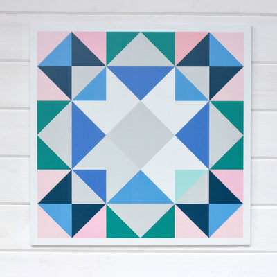 Topanga - a scrappy pink blue white gray and teal Modern Barn Block from Put a Quilt on It