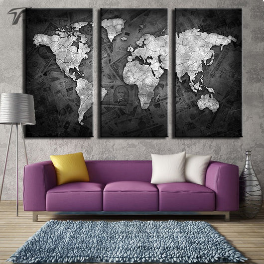 Large world map wall art canvas gifts and gadgets large world map wall art canvas gumiabroncs Image collections
