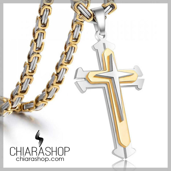 316L Premium Stainless Steel 3 Layers Cross Pendant Silver Gold Color Necklace