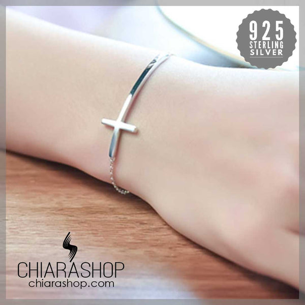 925 Sterling Silver Beautiful Curved-Shaped Cross Woman Bracelet