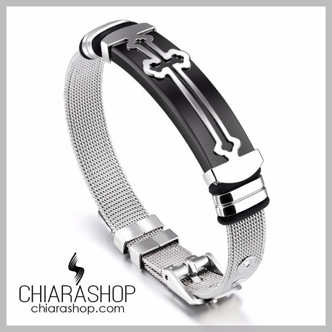 Elegant Nickel Free Stainless Steel Classic Cross Bracelet